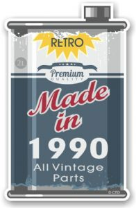 Vintage Aged Retro Oil Can Design Made in 1990 Vinyl Car sticker decal  70x110mm